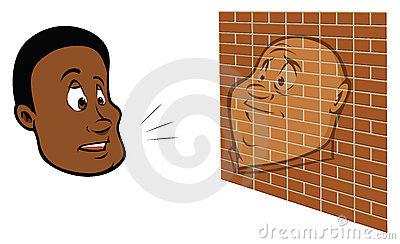 Man talking to a brick wall