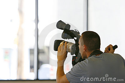 Man taping with video camera