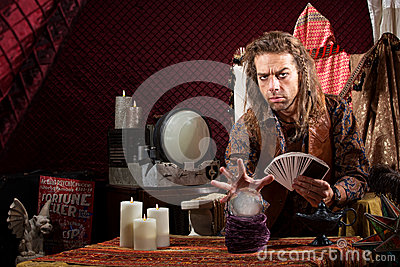 Man With Tarot Cards Stock Photo - Image: 31812830