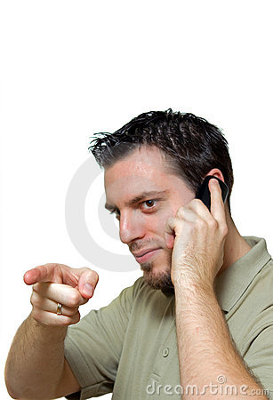 Man with telephone pointing