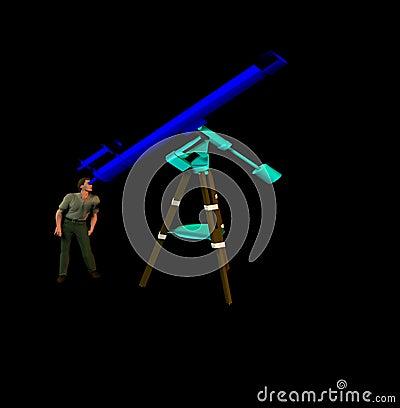Man and telescope