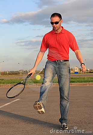 Man and tennis.