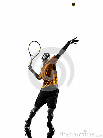 Free Man Tennis Player At Service Serving Silhouette Royalty Free Stock Image - 34964106