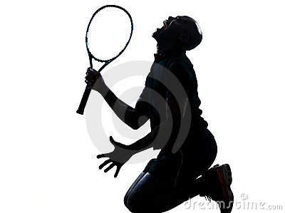 Man tennis player kneeling screaming