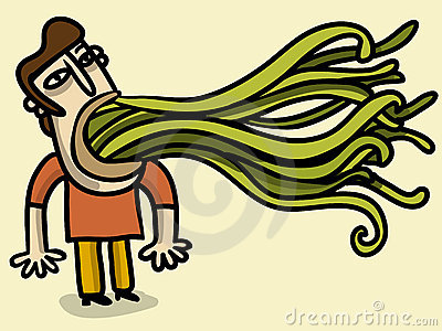Man with tentacles going out of his mouth