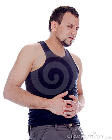 Man  in terrible pain in stomach