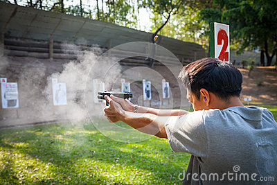 A man testing fire for Glock 19 Gen 4 Editorial Stock Image