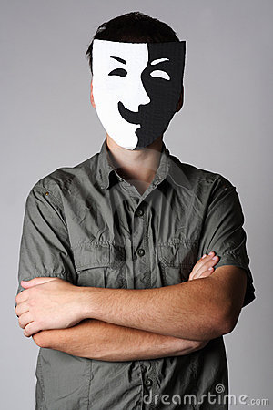 Man in theater black and white smiling mask