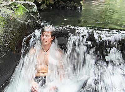 Man in Thermal Waterfall