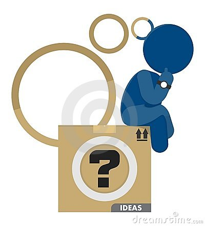 Man Think Out of Box Business Ideas Illustration