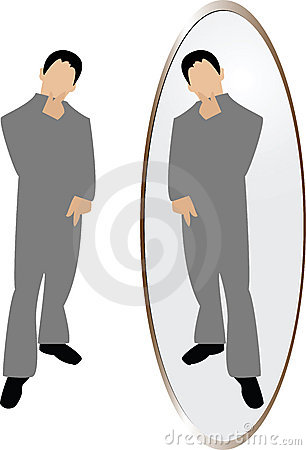Man thinking in mirror
