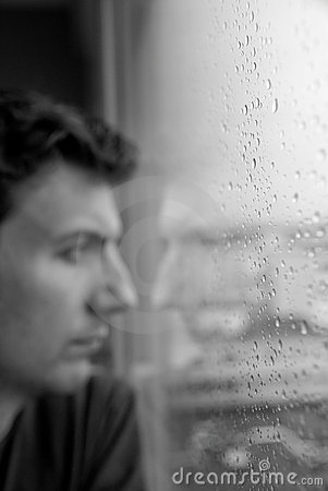Man thinking or showing loneliness or depression