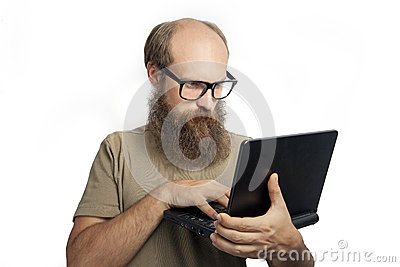 The man thinking and typing