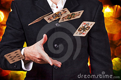 Man throwing cards.