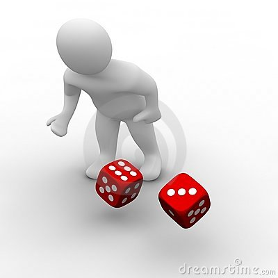 Free Man Throwing Red Dices Stock Photos - 9288103