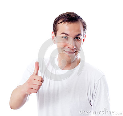 Man thumb up isolated white