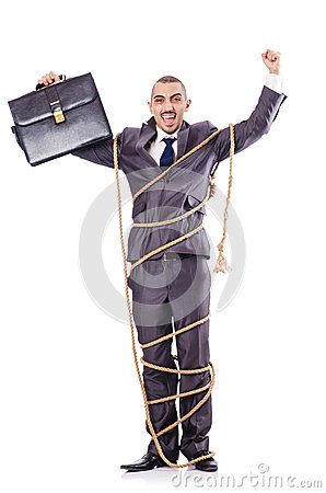Man tied up with rope