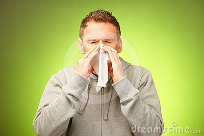 Man with tissue