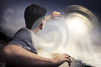 Man about to be abducted by aliens