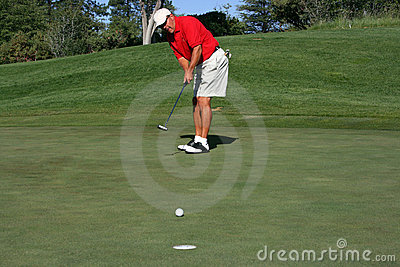 Man about to make putt