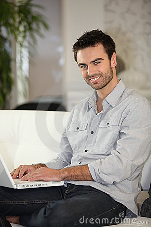 Man about to shop online