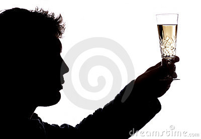 Man toasting with glass of champagne
