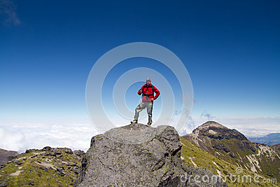 Man On Top Of Mountain Stock Photos - Image: 27806703