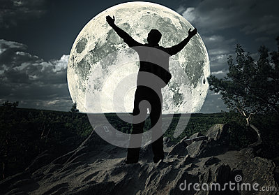 Picture of man standing on the moon