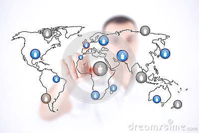 Man touch world map and initiates communication