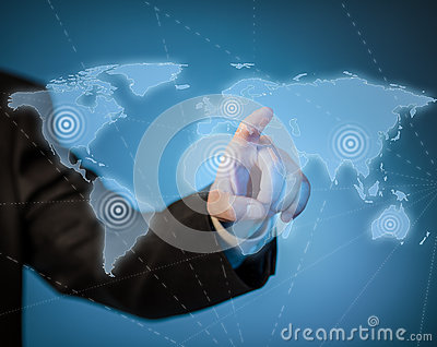 Man touching virtual world map