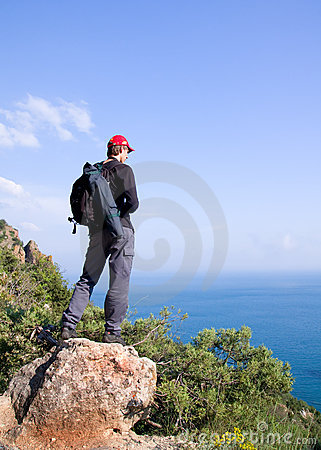 Man tourist in mountains.