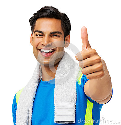 Man With Towel Around Neck Gesturing Thumbs Up