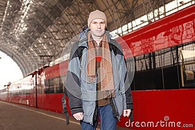 Man at the train station