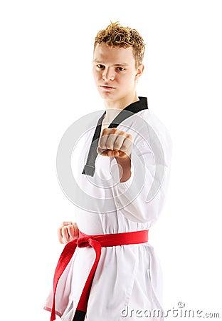 Man training taekwondo