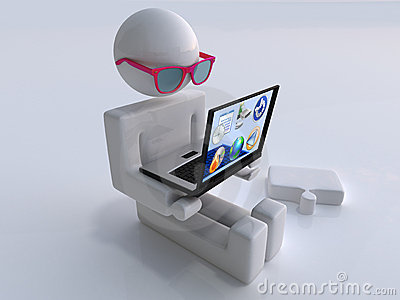 Man with transparent laptop and glasses