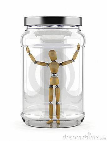 Man trapped in glass jar