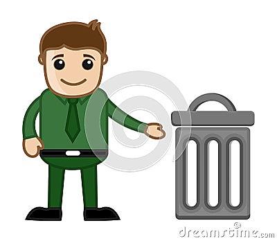 Man with Trash Bin Vector Illustration