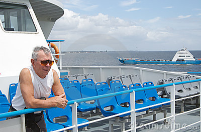 Man travelling on ferry
