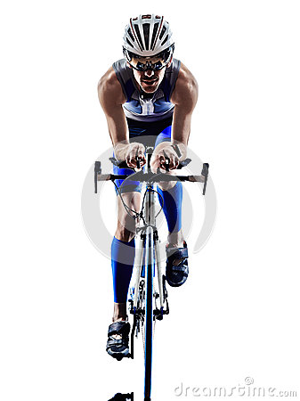 Free Man Triathlon Iron Man Athlete Cyclists Bicycling Royalty Free Stock Photos - 40601028