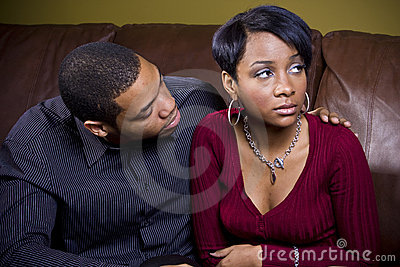 A man tries to consol his sad lover