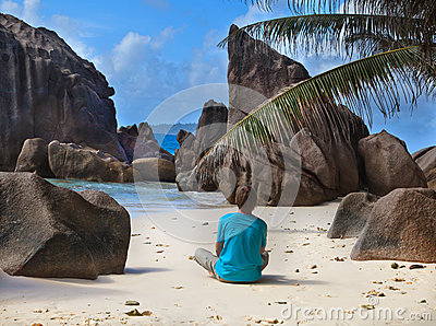 Man on tropical beach