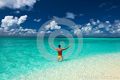 Man at tropical beach