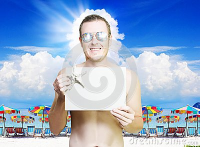 Man at tropical resort in vacation paradise
