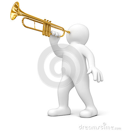 Man with Trumpet (clipping path included)