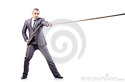 Man in tug of war concept