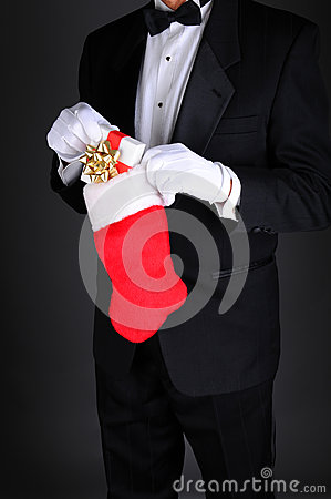 Man in Tux with Christmas Stocking