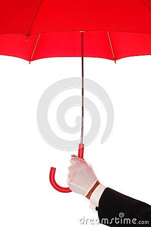 Man in Tuxedo with Red Umbrella