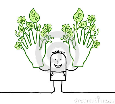 Man with two big green hands
