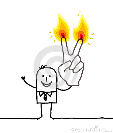 Man with two burning fingers