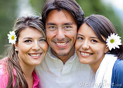 Man and two lovely girls